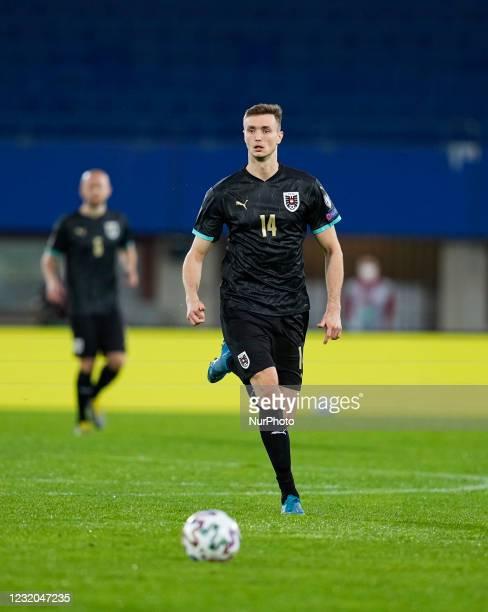 Sasa Kalajdzic of Austria during the World Cup Qualification match between Austria and Denmark at Ernst-Happel-Stadion stadium, Vienna, Austria on...