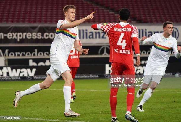 Sasa Kalajdzic of Stuttgart celebrates his team's first goal s9during the Bundesliga match between VfB Stuttgart and 1. FSV Mainz 05 at Mercedes-Benz...