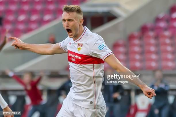 Sasa Kalajdzic of VfB Stuttgart celebrates after scoring his team's first goal during the Bundesliga match between VfB Stuttgart and Bayer 04...