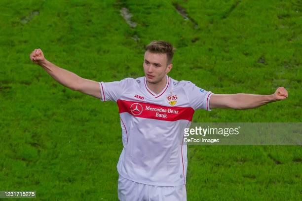 Sasa Kalajdzic of VfB Stuttgart celebrates after scoring his team's second goal during the Bundesliga match between VfB Stuttgart and TSG Hoffenheim...