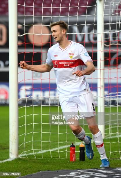 Sasa Kalajdzic of VfB Stuttgart celebrates after their side's first goal, an own goal scored by Kasim Adams of TSG 1899 Hoffenheim during the...