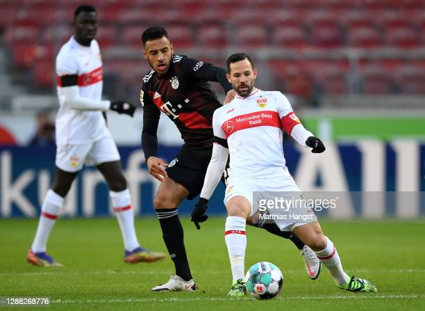 Sasa Kalajdzic of VfB Stuttgart is challenged by Corentin Tolisso of FC Bayern Munich during the Bundesliga match between VfB Stuttgart and FC Bayern...