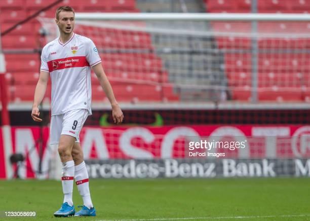 Sasa Kalajdzic of VfB Stuttgart Looks on during the Bundesliga match between VfB Stuttgart and DSC Arminia Bielefeld at Mercedes-Benz Arena on May...