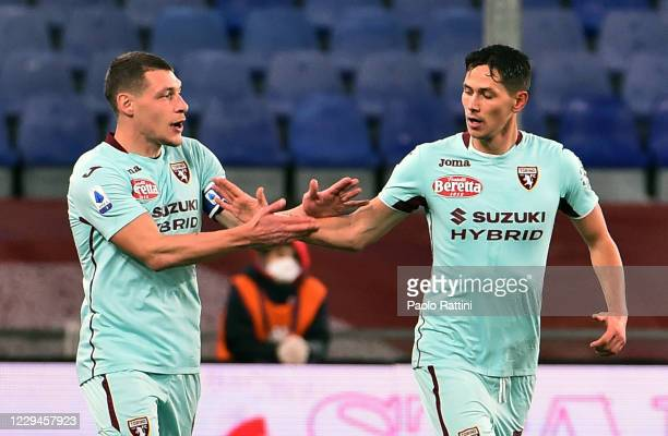 Sasa Lukic and Andrea Belotti of Torino FC celebrates after first score during the Serie A match between Genoa CFC and Torino FC at Stadio Luigi...