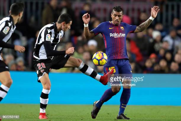 Sasa Lukic of Levante Paulinho of FC Barcelona during the La Liga Santander match between FC Barcelona v Levante at the Camp Nou on January 7 2018 in...