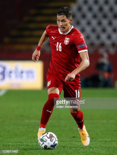 Sasa Lukic of Serbia during in action the UEFA Nations League group stage match between Serbia and Hungary at Rajko Mitic Stadium on October 11, 2020...
