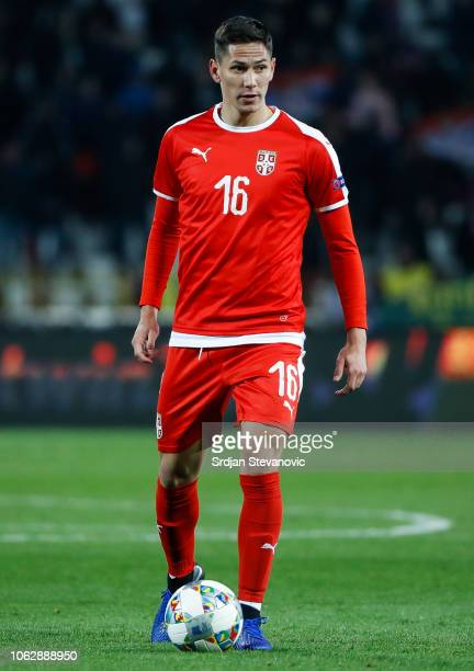 Sasa Lukic of Serbia in action during the UEFA Nations League C group four match between Serbia and Montenegro at stadium Rajko Mitic on November 17,...