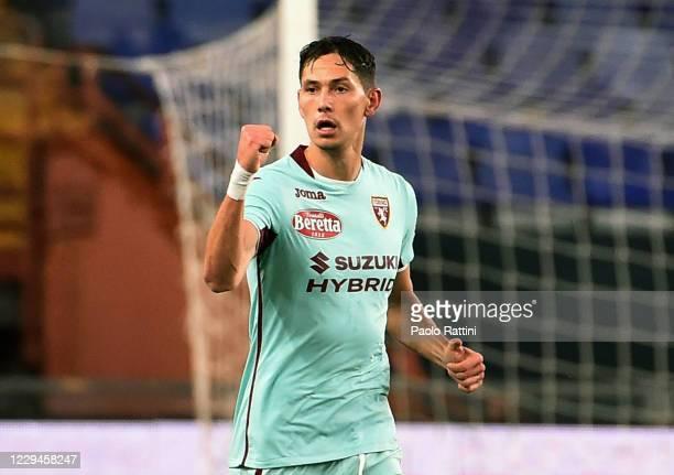 Sasa Lukic of Torino FC celebrates his first score during the Serie A match between Genoa CFC and Torino FC at Stadio Luigi Ferraris on November 4,...