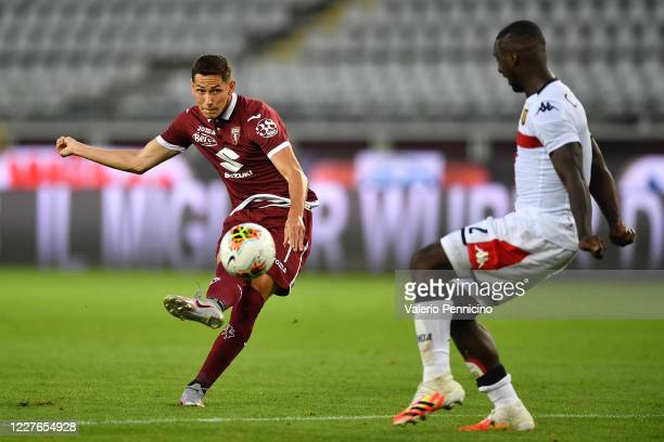 Sasa Lukic of Torino FC scores a goal during the Serie A match between Torino FC and Genoa CFC at Stadio Olimpico di Torino on July 16, 2020 in...