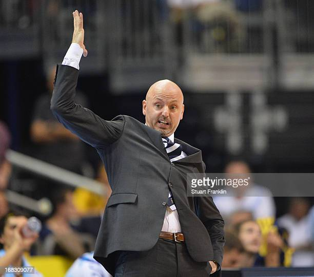 Sasa Obradovic head coach of Berlin reacts during the second leg of the playoff match between ALBA Berlin and FC Bayern Muenchen at O2 World on May 8...