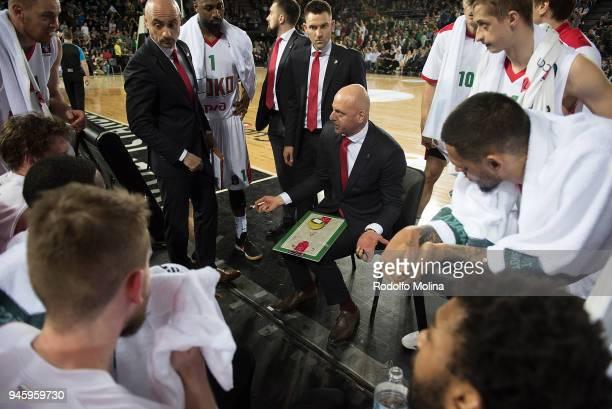 Sasa Obradovic Head Coach of Lokomotiv Kuban Krasnodar in action during a time out at 7DAYS EuroCup Basketball Finals game two between Darussafaka...