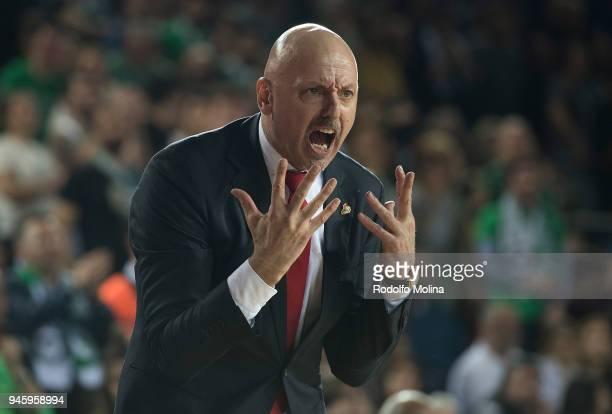Sasa Obradovic Head Coach of Lokomotiv Kuban Krasnodar in action during the 7DAYS EuroCup Basketball Finals game two between Darussafaka Istanbul v...