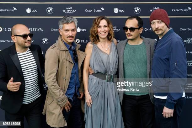 Sasa Petrovic Faris Rahoma Doris Schretzmayer Arman T Riahi and Arash T Riahi attends the 'Die Migrantigen' photocall during the 13th Zurich Film...