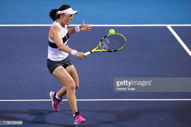 Sasai Zheng of China returns a ball during the quarterfinals match between Sasai Zheng of China and Bianca Andreescu of Canada as part of the day 4...