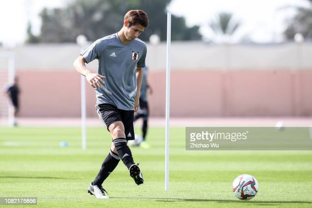 Sasaki Sho attends a training session at Armed Forces Stadium on January 14, 2019 in Abu Dhabi, United Arab Emirates.