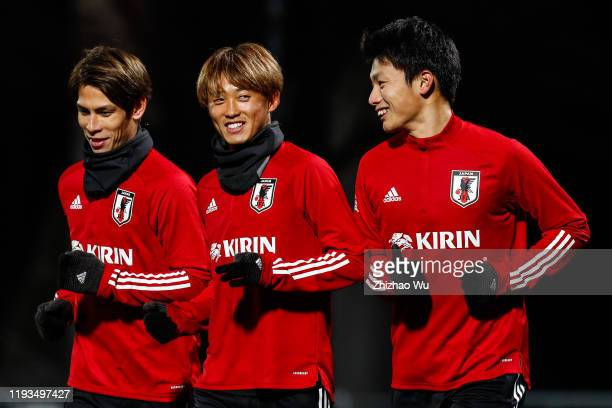 Sasaki Sho Morishima Tsukasa and Ueda Ayase attend the Japan Training Session of EAFF E-1 Football Championship at Busan Gudeok Stadium on December...