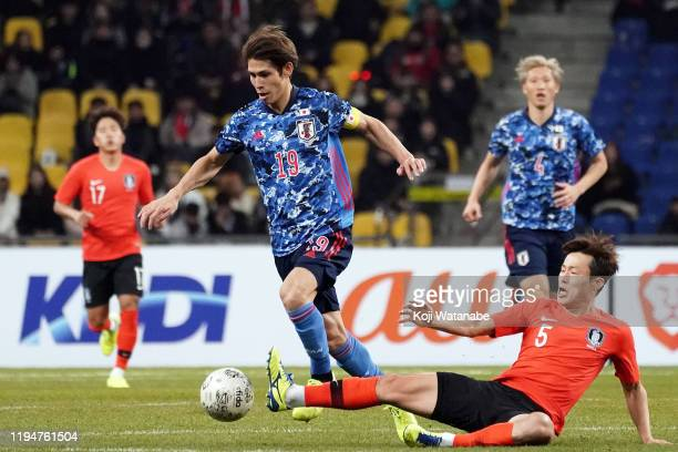 Sasaki Sho of japan in action during the EAFF E-1 Football Championship match between South Korea and Japan at Busan Asiad Main Stadium on December...