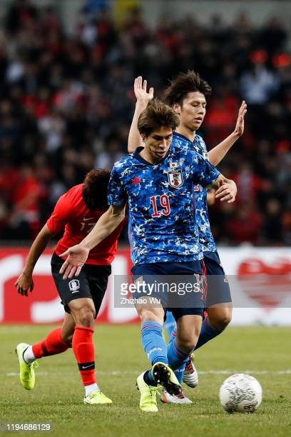 Sasaki Sho of Japan pass the ball during the EAFF E-1 Football Championship match between South Korea and Japan at Busan Asiad Main Stadium on...