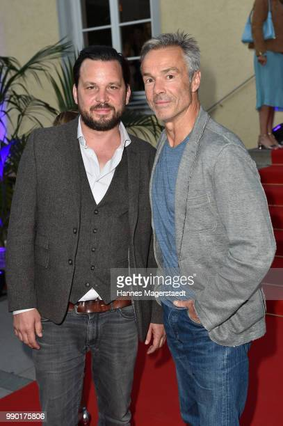 Sascha A Gersak and Hannes Jaenicke attend the UFA Fiction Reception during the Munich Film Festival 2016 at Cafe Reitschule on July 2 2018 in Munich...