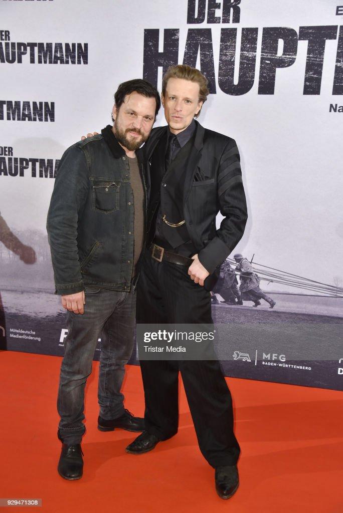 Sascha Alexander Gersak and Alexander Scheer attend the premiere of 'Der Hauptmann' at Kino International on March 8, 2018 in Berlin, Germany.
