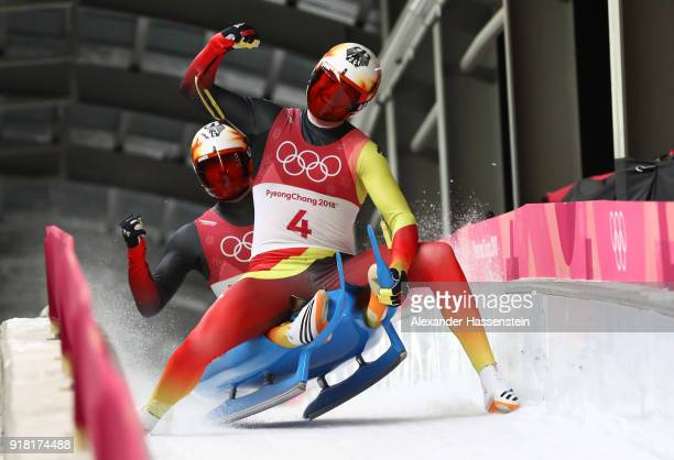 Sascha Benecken and Toni Eggert of Germany celebrate as they finish run 2 during the Luge Doubles on day five of the PyeongChang 2018 Winter Olympics...