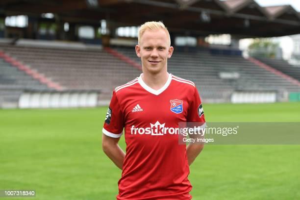 Sascha Bigalke of SpVgg Unterhaching poses during the team presentation at Alpenbauer Sportpark on July 4 2018 in Unterhaching Germany