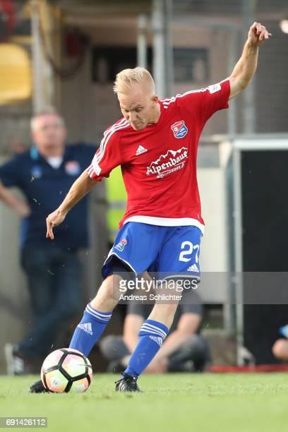 Sascha Bigalke of Unterhaching during the Third League Playoff leg two match between SV Elversberg and SpVgg Unterhaching at Ursapharmarena on May 31...