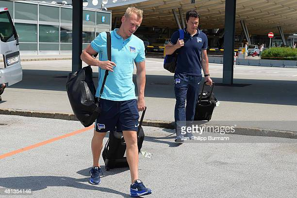 Sascha Burchert and Henrik Kuchno of Hertha BSC during their arrival at Salzburg Airport ahead of the training camp in Schladming on July 19 2015 in...