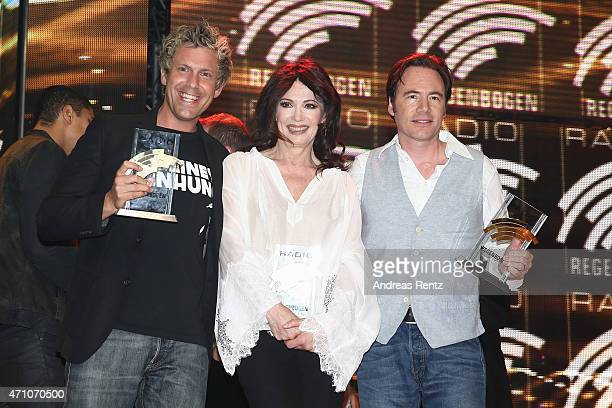 Sascha Grammel Michael 'Bully' Herbig and Iris Berben attend the Radio Regenbogen Award 2015 at Europapark on April 24 2015 in Rust Germany