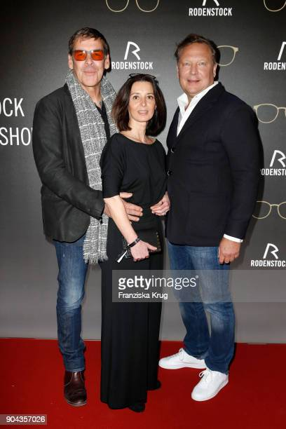 Sascha Hehn his girlfriend Gloria Krass and Oliver Kastalio CEO Rodenstock during the Rodenstock Eyewear Show on January 12 2018 in Munich Germany