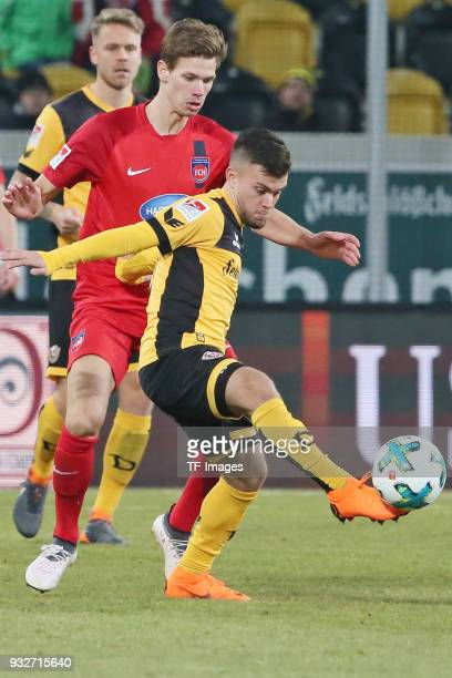 Sascha Horvath of Dresden controls the ball during the Second Bundesliga match between SG Dynamo Dresden and 1 FC Heidenheim 1846 at DDVStadion on...