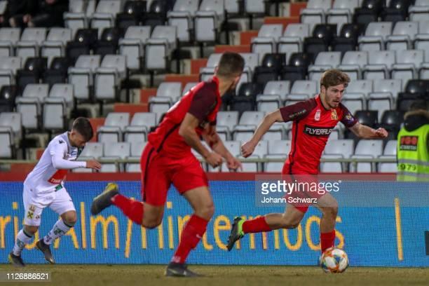 Sascha Horvath of Innsbruck Patrick Schmidt of Admira and Dominik Starkl of Admira during the tipico Bundesliga match between FC Admira Wacker and FC...