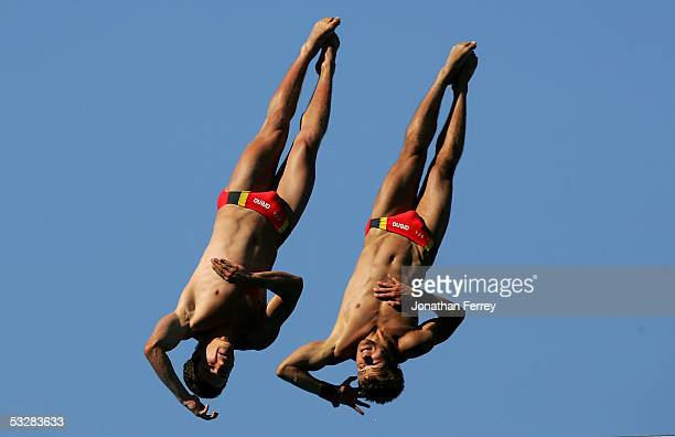 Sascha Klein and Norman Becker of Germany compete in the Men's 10 meter Synchro Platform final at the XI FINA World Championships at the Parc...