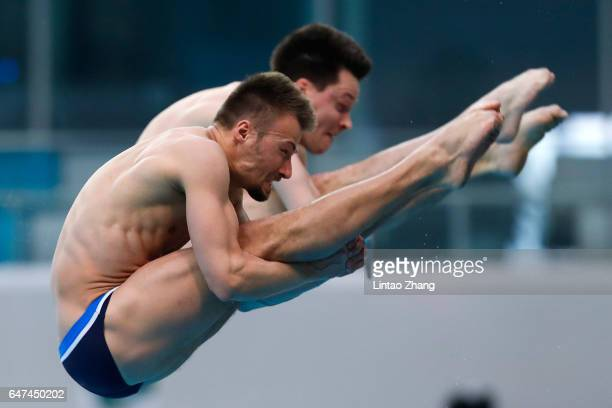Sascha Klein and Patrick Hausding of Germany compete in the Men's 10m Synchro Platform Final during day one of the FINA/NVC Diving World Series 2017...