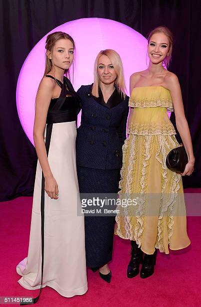 Sascha Luss and Alesya Kafelnikova with guest at The Naked Heart Foundation's Fabulous Fund Fair in London at Old Billingsgate Market on February 20...
