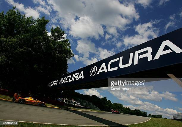 Sascha Maassen drives the Penske Racing Porsche RS Spyder during the American Le Mans Series Acura Sports Car Challenge on July 21 2007 at the...