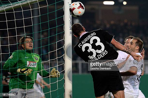 Sascha Moelders of Augsburg misses a chance at goal during DFB Cup second round match between Preussen Muenster and FC Augsburg at Preussenstadion on...