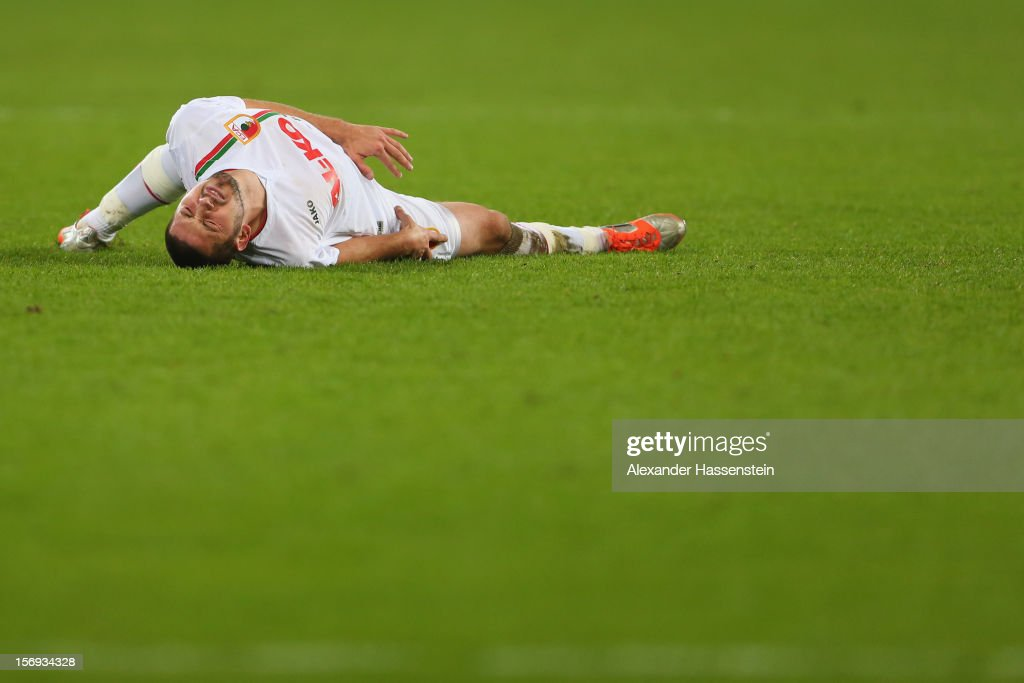 Sascha Moelders of Augsburg reacts during the Bundesliga match between FC Augsburg and VfL Borussia Moenchengladbach at SGL Arena on November 25, 2012 in Augsburg, Germany.