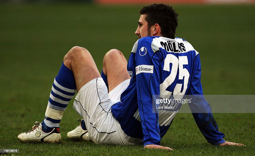 Sascha Moelders of Duisburg sits dejected on the pitch after loosing the Bundesliga match between MSV Duisburg and VfB Stuttgart at the MSV Arena on February 16, 2008 in Duisburg, Germany.