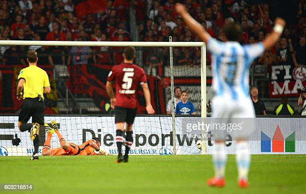 Sascha Moelders of Muenchen scores the opening/first goal during the Second Bundesliga match between 1 FC Nuernberg and TSV 1860 Muenchen at Arena...