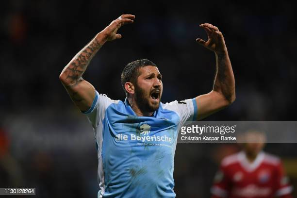 Sascha Moelders of TSV 1860 Muenchen celebrates during the 3 Liga match between TSV 1860 Muenchen and SpVgg Unterhaching at Stadion an der...