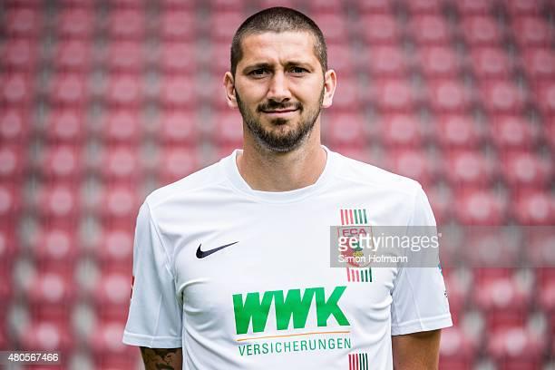 Sascha Moelders poses during the FC Augsburg Team Presentation at WWKArena on July 8 2015 in Augsburg Germany