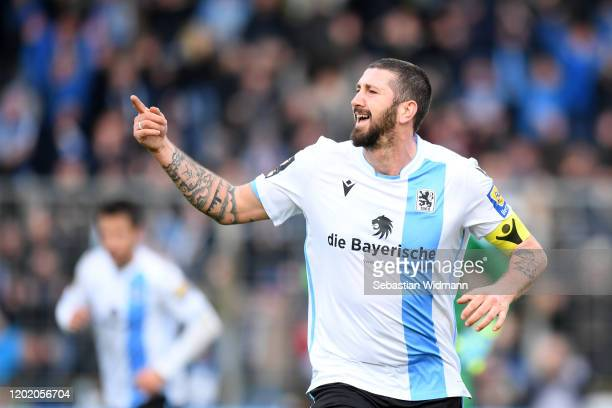 Sascha Moeldersof TSV 1860 Muenchen celebrates after scoring his team's fourth goal during the 3 Liga match between TSV 1860 Muenchen and Eintracht...