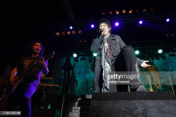 Sascha Paeth and Tobias Sammet of Avantasia perform live on stage during a concert at Huxleys Neue Welt on April 3 2019 in Berlin Germany