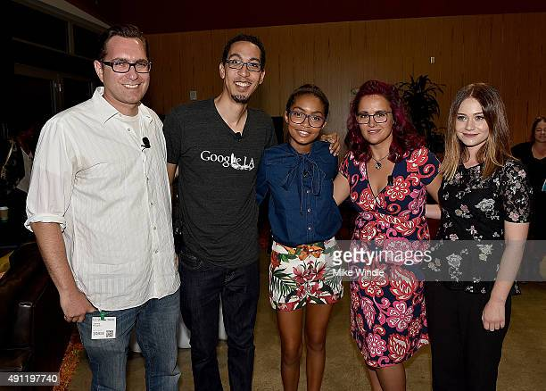 Sascha Paladino Omari Christian Yara Shahidi Kristen Rutherford and Amanda Leighton attend The Paley Center For Media Google present 'Cracking the...