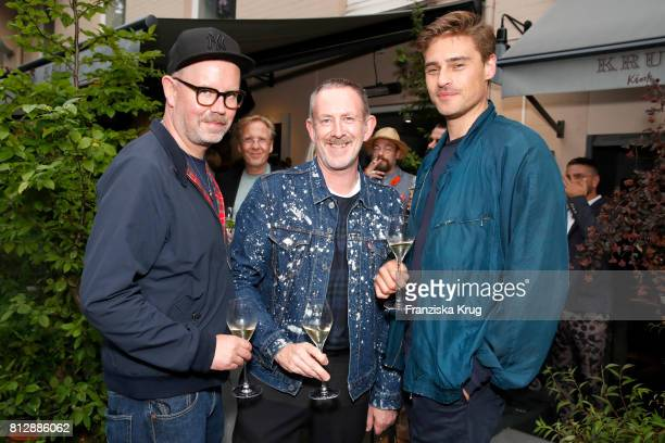 Sascha Pietsch Ole Mlodzian and Lino Meiries attend the 'Krug Kiosk' Event on July 11 2017 in Hamburg Germany
