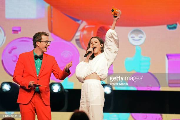 Sascha Quade and Lena MeyerLandrut are seen on stage at the Nickelodeon Kids Choice Awards on April 4 2019 in Rust Germany