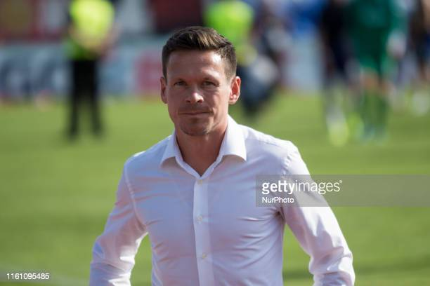 Sascha Riehter, team manager of Schalke 04 looks on after the DFB Cup first round match between SV Drochtersen/Assel and FC Schalke 04 at the...