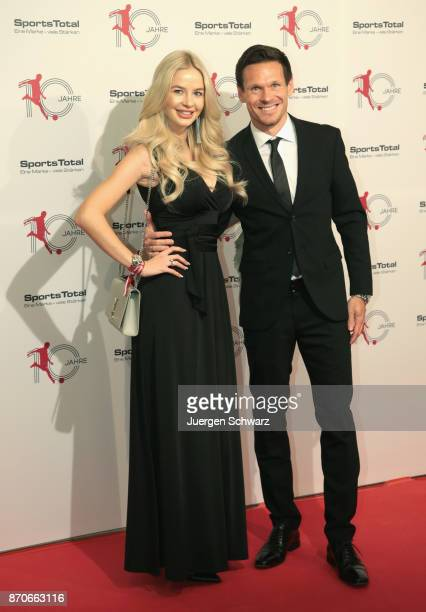 Sascha Riether and Sarah Koehn pose at the 10th anniversary celebration of the Sports Total Agency on November 5 2017 in Cologne Germany