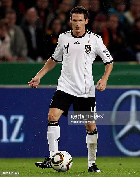 Sascha Riether of Germany runs with the ball during the EURO 2012 Group A Qualifier match between Germany and Azerbaijan at RheinEnergie stadium on...